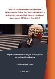 Witness Credibility Report 2013 - Bond University