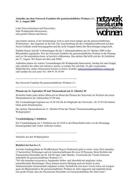 Nr. 3, August - Netzwerk Frankfurt für gemeinschaftliches Wohnen eV