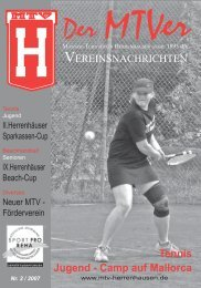 Tennis Jugend - Camp auf Mallorca - MTV Herrenhausen