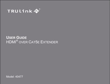 USER GUIDE OVER CAT5E EXTENDER - Cables To Go