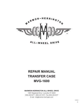 REPAIR MANUAL TRANSFER CASE MVG-1600