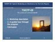 Report on the TWEPP workshop - Physics Department - CERN