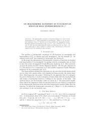 On Holomorphic Extensions of Functions on Singular Real ...