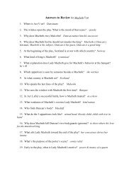 Answers to Review for Macbeth Test - Keller ISD Schools