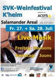 Fr. 27. + Sa. 28. Juli SVK-Weinfestival K'heim Samstag: Freitag