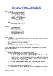 Compte rendu de la réunion du 28 A avril 2009 - Réseau Qualité en ...