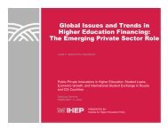 Global Issues and Trends in Higher Education Financing: The ...