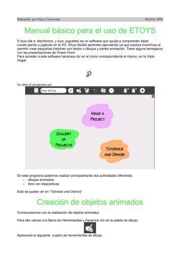 Manual básico para el uso de ETOYS Creación de objetos animados