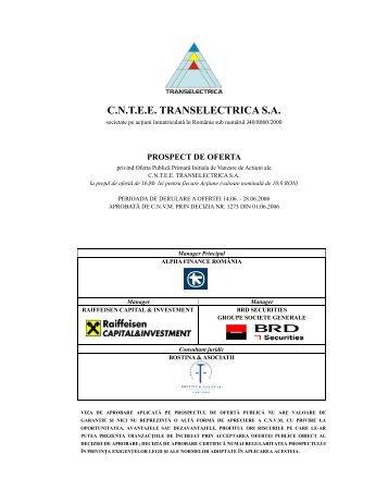 Prospect de oferta publica initiala Transelectrica - Kmarket.ro
