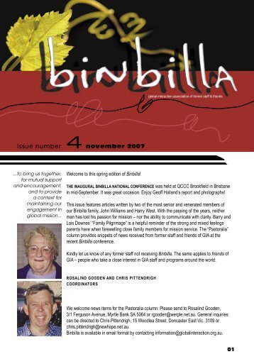 Welcome to this spring edition of Binbilla! in mid ... - Global Interaction
