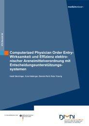 Computerized Physician Order Entry- Wirksamkeit und ... - Dimdi