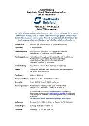 Ausschreibung Bielefelder Tennis Stadtmeisterschaften
