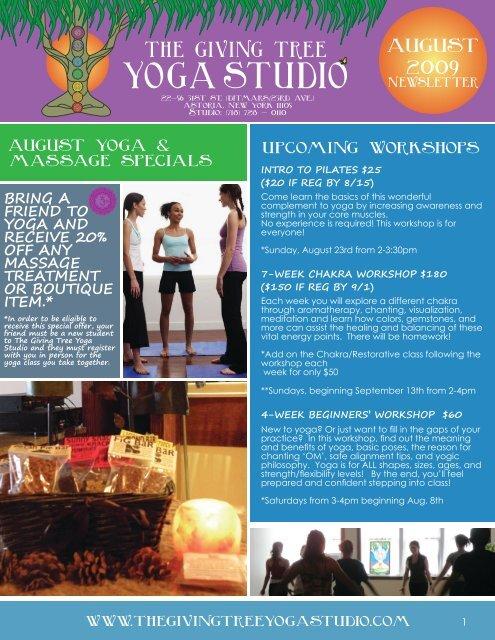august 2009 - The Giving Tree Yoga Studio