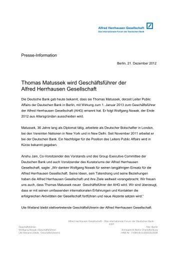 Thomas Matussek wird Geschäftsführer der Alfred Herrhausen ...