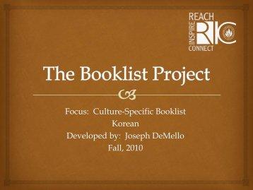 Korean (1)Booklist by Joseph M. DeMello for Grades 4-8.pdf - RITELL
