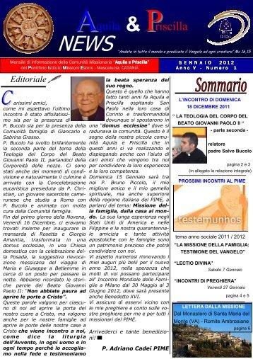 giornalino A&P NEWS Gennaio 2012.pdf - Missio Famiglie