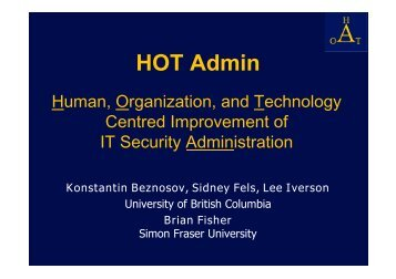 HOT Admin - LERSSE - University of British Columbia