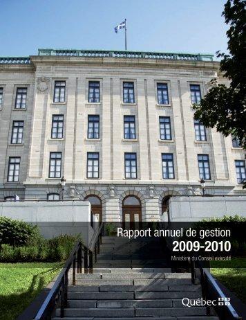 Rapport annuel de gestion 2009-2010 - Ministère du Conseil exécutif