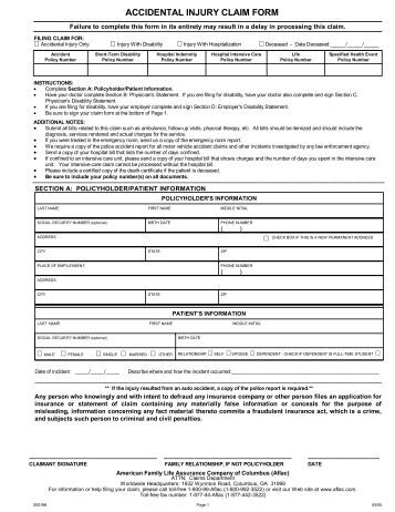 Aflac Claim Form Aflac Aflac Forms  Allegheny County Specified