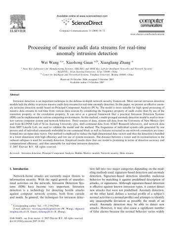 Processing of massive audit data streams for real-time ... - CFINS
