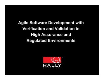 Agile Software Development with Verification and ... - Rally Software