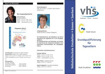 Flyer 2014 - Volkshochschule Emsdetten - Greven - Saerbeck