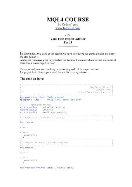 mql4 course - Free MetaTrader 4 Files - Expert Advisors