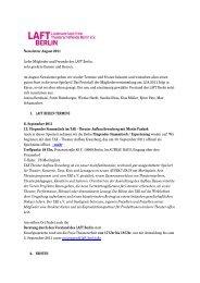 Newsletter August 2011 Liebe Mitglieder und Freunde des LAFT ...