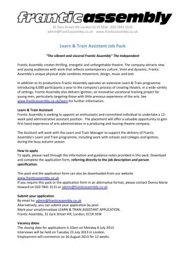 Learn & Train Assistant Job Pack - Frantic Assembly