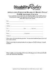 PAIMI Advisory Council Application - Disability Rights Texas