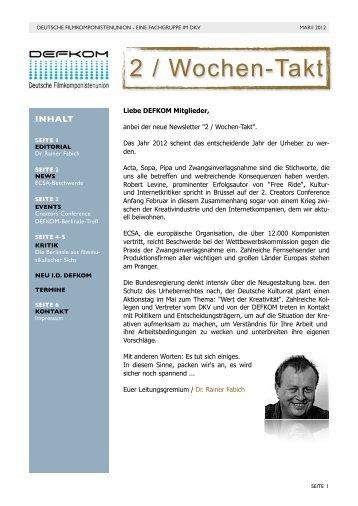 2 / Wochen – Takt (März/I 2012) - DEFKOM
