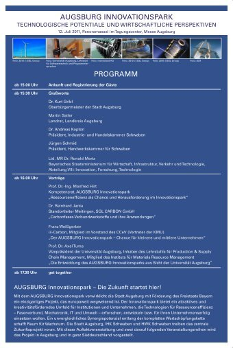 PROGRAMM AUGSBURG INNOVATIONSPARK - im ...