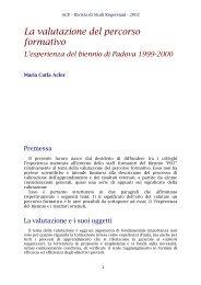 La valutazione del percorso formativo - ACP
