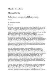 Theodor W. Adorno  Minima Moralia Reflexionen aus dem ...