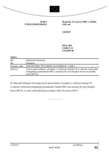 11025/07 pw/DH/pw 1 DGE WMD RADA UNII ... - CONSILIUM