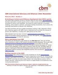 CBM International Advocacy and Alliances (IAA) Newsletter