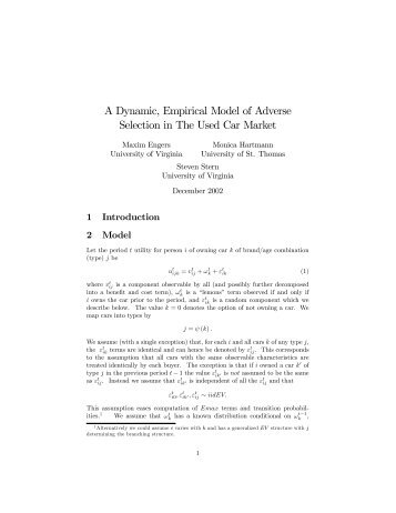 A Dynamic, Empirical Model of Adverse Selection - University of ...