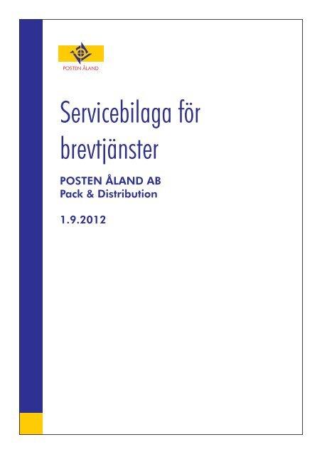 Servicebilaga för brevtjänster - Posten Åland