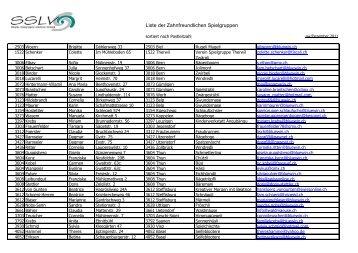 Liste der Zahnfreundlichen Spielgruppen - SSLV