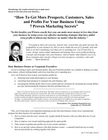 """How To Get More Prospects, Customers, Sales ... - Hunteridge.com"