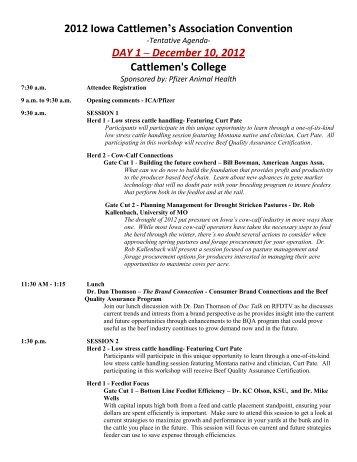 2012 Iowa Cattlemen's Association Convention DAY 1 – December ...