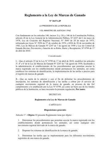Reglamento a la Ley de marcas de ganado.pdf - Tribunal Registral ...