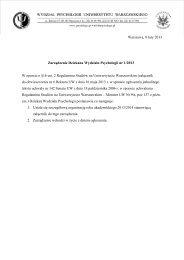 Zarządzenie Dziekana Wydziału Psychologii nr 1/2013