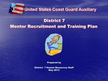 Mentor Recruitment and Training Plan - USCGAUX District 7
