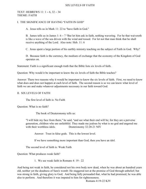 SIX LEVELS OF FAITH TEXT: HEBREWS 11 - The Church at