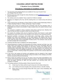 CASUARINA LIBRARY MEETING ROOMS Procedures, Information ...