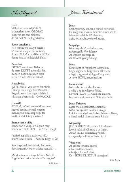 Evangéliumi folyóirat - Vetés és aratás