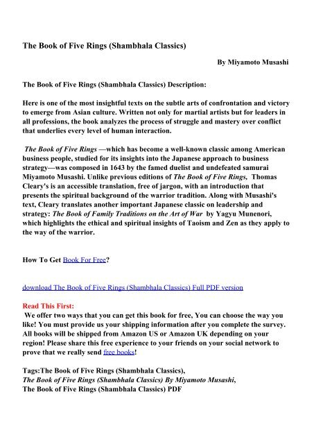 The Book Of Five Rings Shambhala Classics Pdf Ebooks Free