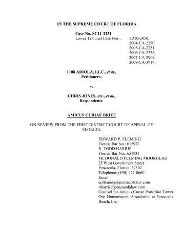 Amicus Curiae Brief 5-7-12 - Pensacola Beach Tax Suit