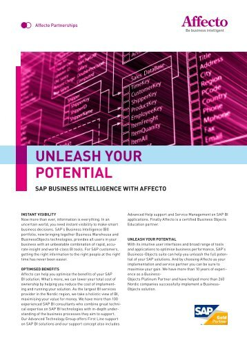 SAP BuSineSS intelligence with Affecto UNLEASH YOUR POTENTIAL